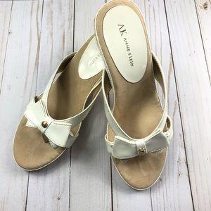 Ann Klein White Bow Gold Detail Rope Wedge Sandals